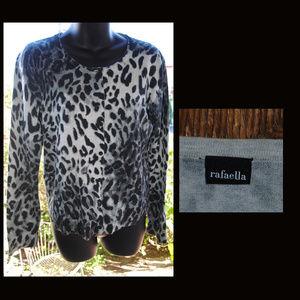 RAFAELLA Leopard Print Button Down Sweater